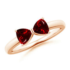 1 Ctw Two Stone Trillion Garnet Bow Tie Ring 14K Rose Gold Size 3-13