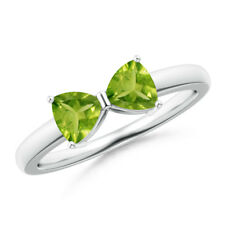 1 Ct Two Stone Trillion Cut Peridot Bow Tie Ring 14K White Gold Size 3-13