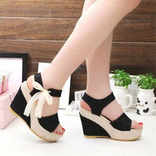 Womens Summer Wedge High-heeled Sandals Shoes Peep Toe Lace Bow Platform Heels