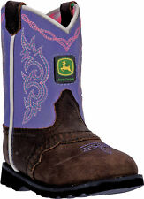 Johnny Popper Infant Girls Purple/Brown Leather Western Boots