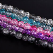Glass Spacer Beads Colorful Crystal Crackle DIY Craft Jewelry MakingP&C
