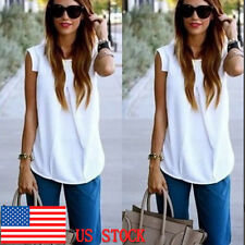 Women's Summer Solid Sleeveless Tank Tops Casual Party T-shirts Tunic Blouse Tee