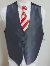 NEW Sz M-2XL Gray Textured Solid Formal Tuxedo MENS Polyester #68D Suit Vest