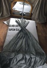 SILVER GREY DUPION SILK THERMAL INTERLINED MTM CURTAINS 5FT-15FT WIDE MADE ORDER