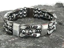 Mens Women100% Magnetic Hematite Bracelet Anklet Necklace 3 row / Silver/Crystal