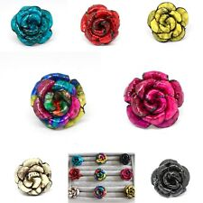Bali Handmade Leather Flower Rose Adjustable Fashion Ring Festival Hippie Chic
