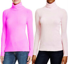 NWT AQUA Womens Pink Heathered Cashmere Turtleneck Sweater XL M $188