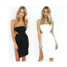 Sexy Women's Dress Backless Wrapped Chest Strapless Bifurcate Package Hip Skirt