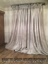 HEAVY THICK CREAM VELVET CHENILLE LINED MTM CURTAINS 5FT-15FT POLE HEAVY THERMAL