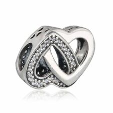 Genuine Sterling Silver Entwined Heart Charm Double Bead Daughter Wife 791880CZ