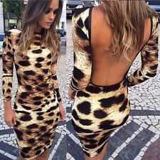 Womens Bodycon Long Sleeve Leopard Backless Sexy Mini Dress Cocktail Party Dress