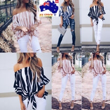 AU Plus Size Women Striped Off Shoulder Top Ruffle Sleeve Casual Lace UP Blouse