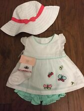 NWT Gymboree Baby Girl butterfly dress outfit set socks hat 3 6 months