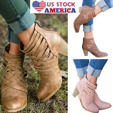 Womens Ankle Boots Back Zipper Round Toe Boot Block High Heels Boots Shoes Size