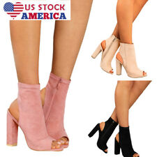 US Clubwear Block High Heel Womens Chunky Boots Suede Peep Toe Party Shoes Size