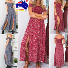 AU Summer Women Boho Off Shoulder Floral Maxi Dress  Holiday Beach Party Dress