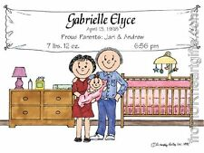 PERSONALIZED CUSTOM CARTOON PRINT - NEW BABY - GREAT GIFT IDEA! FREE S/H