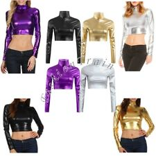 Women's Shiny Metallic Wetlook Crop Top Mock Neck Long Sleeve Top Shirt Clubwear