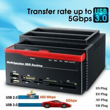 USB 2/3.0 IDE SATA HDD Docking Station All in One Card Reader Slot Hard Drive