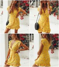 Women V Neck Summer Wear Floral Printed Ruffled Chiffon Fabric Beach Dress