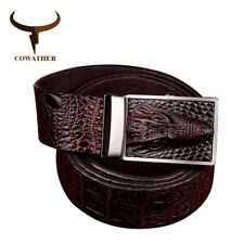 COWATHER® Quality Genuine Leather Belts Men Alligator Pattern Automatic Buckle