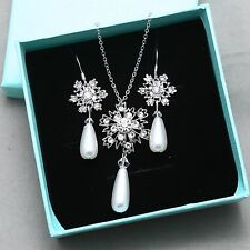 Delicate Snowflake Pearl Wedding Necklace Bridal Earrings Winter Jewelry Set