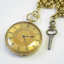 Antique 18ct Yellow Gold Gents Pocket Watch w/ Chain & Key in Working Condition