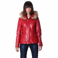 Women's Leather Jacket parka hood with murmasky red color 627