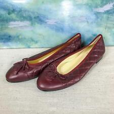 $795 CHANEL Red Maroon Quilted Leather Bow Cap Toe Ballet Flats SZ 41.5 NEW SALE