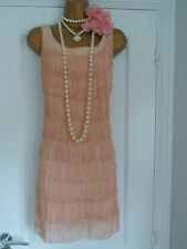 H&M 1920s Flapper Charleston Gatsby Fringe Tassel Dress Size 8/10 s