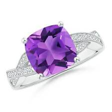 3.2tcw Solitaire Cushion Natural Amethyst Diamond Criss Cross Ring Gold/Silver