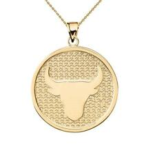 Solid 14k Yellow Gold Taurus Zodiac Disc Pendant Necklace