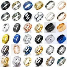 Men Women Stainless Steel Titanium Band Ring Wedding Engagement Gifts Size 5-13