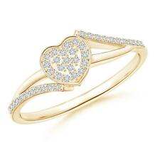 Cluster Set Round Natural Diamond Heart Ring Silver/14K Gold Size 3-13