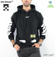 OFF-white hoodie black & white spray painted pullover hoodie stripes sleeves NEW