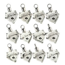 Crystal Heart Pet Cremation Ashes Memorial Urn Stainless Steel Pendant Charm