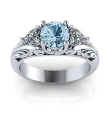 Women Men 925 Silver Ring 1ct Aquamarine Wedding Engagement Ring Size 5-11