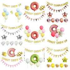 Donut Party Decorations-Donut Grow Up Letter Banner,Latex Balloon,Pennant