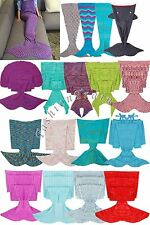 1PC Fashion Mermaid Tail Knitted Blanket Crocheted Sleeping Bag Fancy Dress UK