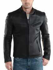 New Men's Leather Jacket Black Slim fit Motorcycle Real lambskin jacket MJK3