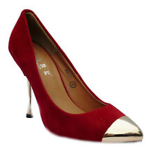 Womens New Black Burgandy Nude Patent Suede Metallic Toe Shoes Xmas Party UK 3-8