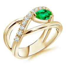 Criss Cross Pear Shaped Emerald Ring with Diamond Accents Gold/Platinum