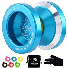 Magic YoYo N8 Unresponsive Alloy Aluminum Yo 6 Strings Glove+Yoyo Bag Gift Blue