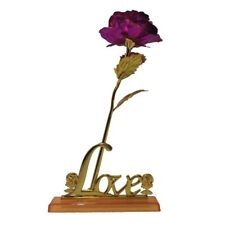 Gold Foil Rose Pink Artificial Flower Be Immortal Love Gift Decorative Holder