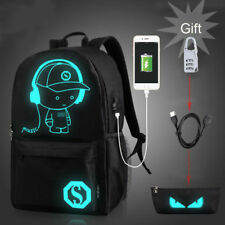 Fashion Black Backpack Luminous Shoulder Bag Schoolbag for Students Youth