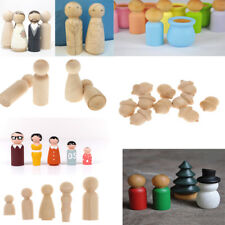 Funny Blank DIY Wooden People Peg Dolls Wedding Cake Toppers Craft Toys