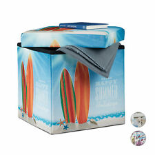 Storage Ottoman Foldable Cube with Lid Practical Padded Footstool with Print