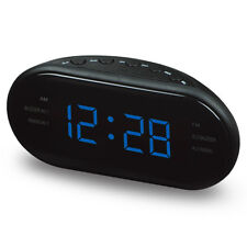 USB Rechargeable LED Digital AM/FM Alarm Clock Buzzer Radio Snooze Sleep Timer
