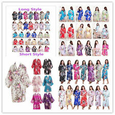 Women's Kimono Robe Plain Silk Satin Robes Bridal Wedding Bridesmaid Bride Gown-