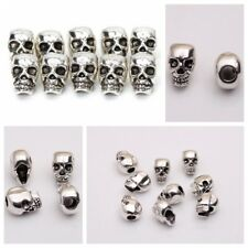 10/20 Skull Head 4mm Hole Antique Silver Spacer Beads Jewelry Bracelet Findings